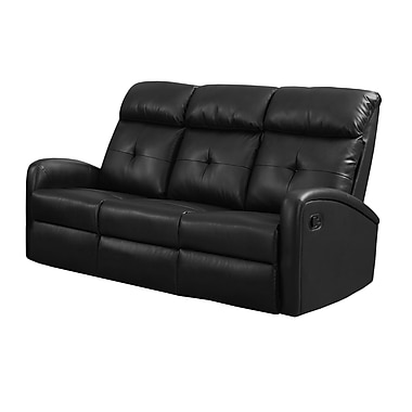 Monarch I 88BK-3 Reclining, Black Bonded Leather Sofa