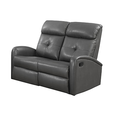 Monarch I 88GY-2 Reclining, Charcoal Grey Bonded Leather Love Seat