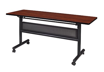 "Regency Kobe Flip Top with Modesty Panel 60"" x 24"" Metal and Wood Training Table, Cherry (MKFTM6024CH)"