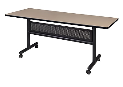 "Regency Kobe Flip Top with Modesty Panel 60"" x 30"" Metal and Wood Training Table, Beige (MKFTM6030BE)"