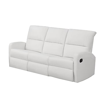 Monarch I 84WH-3 Reclining, White Bonded Leather Sofa