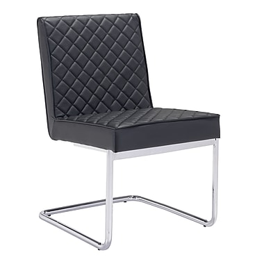 Zuo Modern Quilt Armless Dining Chair Black, 2/Pack (WC100187)