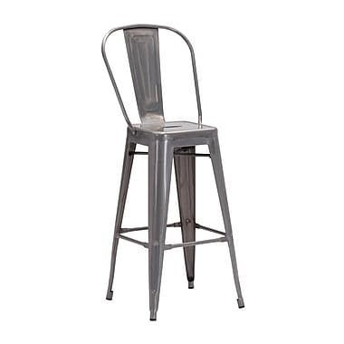 Zuo Modern Elio Bar Chair Gunmetal, 2/Pack (WC106120)
