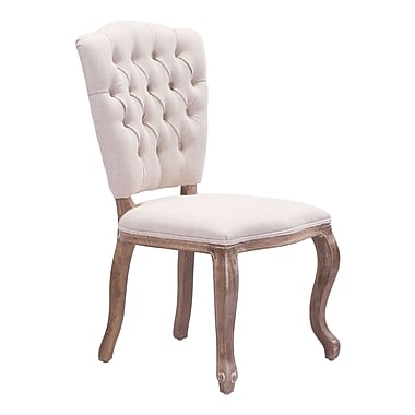 Zuo Modern – Chaise de salle à manger Eddy, beige, 2/paquet (WC98356)