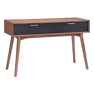 Zuo Modern – Table console Liberty City, noyer et noir (WC100096)