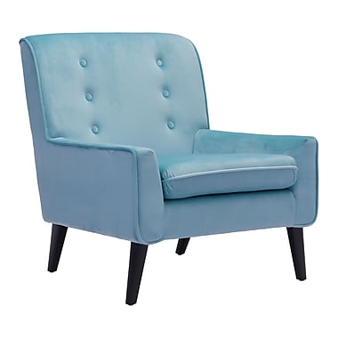 Zuo Modern – Fauteuil Coney, velours turquoise (WC100223)
