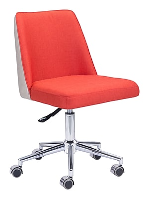 Zuo Modern Season Leather Computer and Desk Office Chair, Armless, Orange (WC100234)