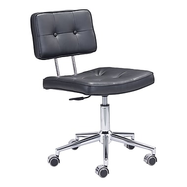 Zuo Modern Series Leather Computer and Desk Office Chair, Armless, Black (WC100236)