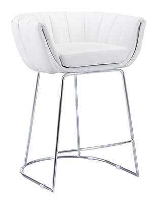 Zuo Modern Latte Counter Chair White (Set of 2) (WC100249)