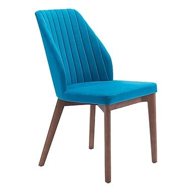 Zuo Modern – Chaise de salle à manger Vaz, velours bleu, 2/paquet (WC100270)