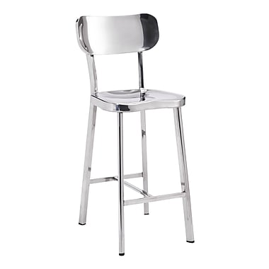 Zuo Modern Winter Counter Chair Stainless Steel, 2/Pack (WC100302)