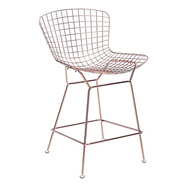 Zuo Modern – Chaise de comptoir Wire, or rose, 2/paquet (WC100363)