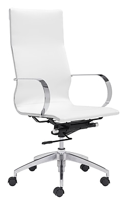Zuo Glider Leather Computer and Desk Office Chair, Fixed Arms, White (WC100372)