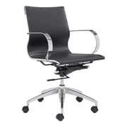 Zuo Glider Leather Computer and Desk Office Chair, Fixed Arms, Black (WC100374)