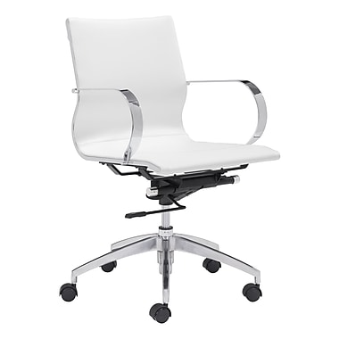 Zuo Modern Glider Low Back Office Chair White (WC100375)