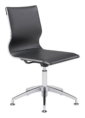 Zuo Glider Leather Computer and Desk Office Chair, Armless, Black (WC100377)