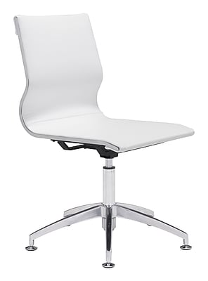 Zuo Glider Leather Computer and Desk Office Chair, Armless, White (WC100378)