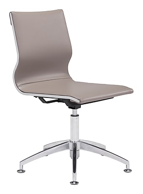 Zuo Glider Leather Computer and Desk Office Chair, Armless, Gray/Silver (WC100379)