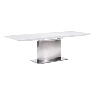 Zuo Modern – Table à rallonge Pierrefronds, blanc (WC107860)