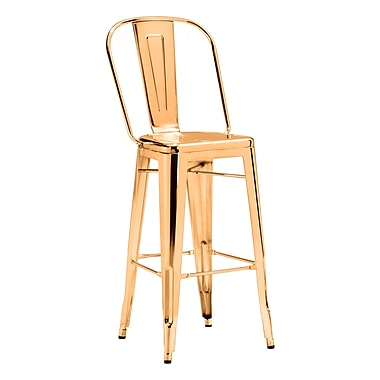 Zuo Modern Elio Bar Chair Gold, 2/Pack (WC108062)