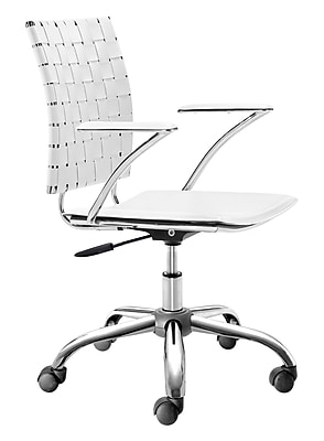 Zuo Criss Cross Leather Computer and Desk Office Chair, Fixed Arms, White (WC205031)
