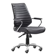 Zuo Enterprise Leather Computer and Desk Office Chair, Fixed Arms, Black (WC205164)