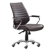 Zuo Enterprise Leather Computer and Desk Office Chair, Fixed Arms, Brown (WC205166)