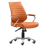 Zuo Enterprise Leather Computer and Desk Office Chair, Fixed Arms, Orange (WC205167)