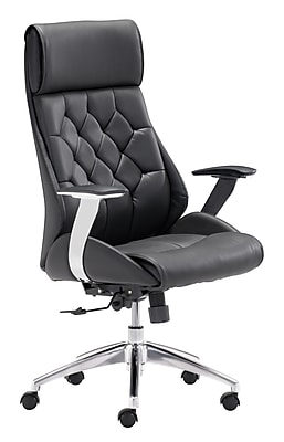 Zuo Boutique Leather Computer and Desk Office Chair, Fixed Arms, Black (WC205890)