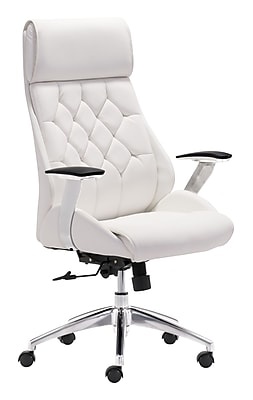 Zuo Boutique Leather Computer and Desk Office Chair, Fixed Arms, White (WC205891)