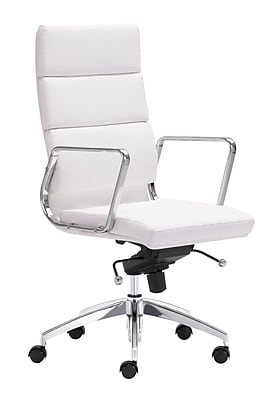 Zuo Modern Engineer Leather Computer and Desk Office Chair, Fixed Arms, White (WC205893)