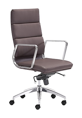 Zuo Modern Engineer Leather Computer and Desk Office Chair, Fixed Arms, Espresso (WC205894)