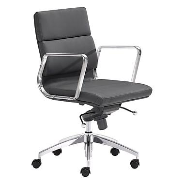 Zuo Modern – Chaise de bureau à dossier bas Engineer, noir (WC205895)