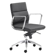 Zuo Modern Engineer Leather Computer and Desk Office Chair, Fixed Arms, Black (WC205895)