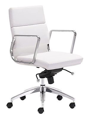 Zuo Modern Engineer Leather Computer and Desk Office Chair, Fixed Arms, White (WC205896)
