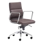 Zuo Modern Engineer Leather Computer and Desk Office Chair, Fixed Arms, Espresso (WC205897)