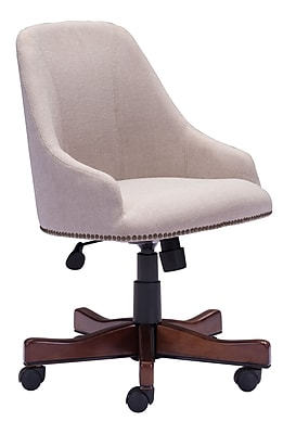 Zuo Maximus Fabric Bankers Office Chair, Fixed Arms, Beige (WC206083)