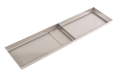 FFR Merchandising Stainless Steel Pan, No Drain Holes, 1 Divider, 6 inch W x 24 inch L x 1 inch D, (9922510332)