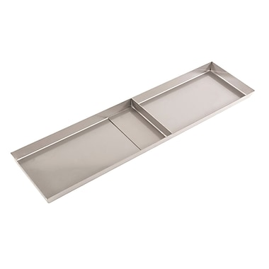 FFR Merchandising Stainless Steel Pan, No Drain Holes, 1 Divider, 8 inch W x 24 inch L x 1 inch D, (9922510333)