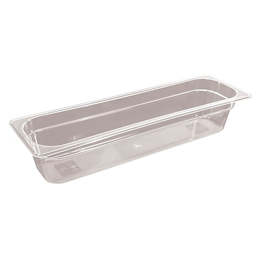 FFR Merchandising Cold Food Pans and Covers, Half Long Pan, 4 inch D,  Clear, (9922510597)