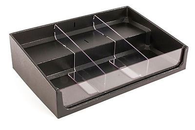 FFR Merchandising Shelf Organizer With Step, 24 inch W x 16 inch D x 6 inch H, 2 Dividers, (9924211377)