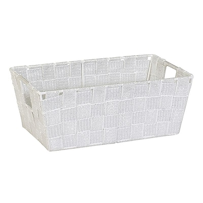 Simplify Small Woven Strap Shelf Tote, White/Silver (26244-WHT-SILVE)