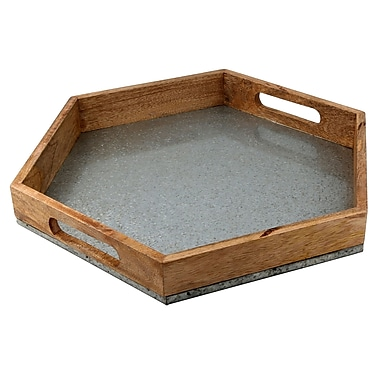 Thirstystone Luxe Hexagon Mango Wood and Galvanized Iron Serving Tray
