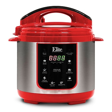 Elite by Maxi-Matic Platinum 4-Quart Electric Stainless Steel Pressure Cooker; Red