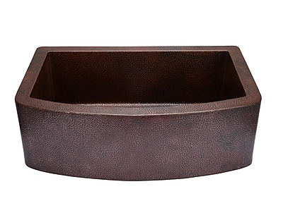 Hahn 33'' x 22'' Copper Curved Front Single Bowl Farmhouse Kitchen Sink