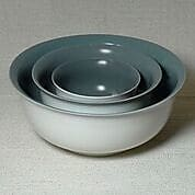 Middle Kingdom 3 Piece Polychrome Nesting Bowl Set; Steel Grey / Ivory