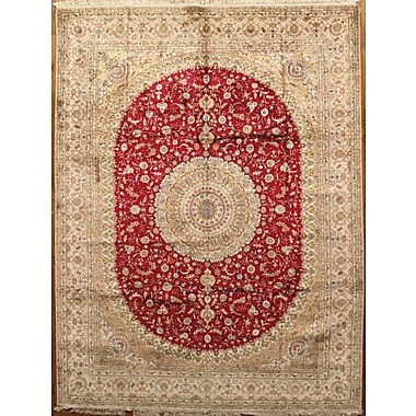 Pasargad Tabriz Hand-Knotted Red/Ivory Area Rug