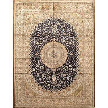 Pasargad Tabriz Hand-Knotted Navy/Light Gold Area Rug