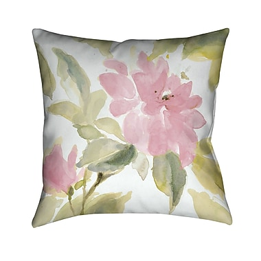 LauralHome Pink Blooms Throw Pillow