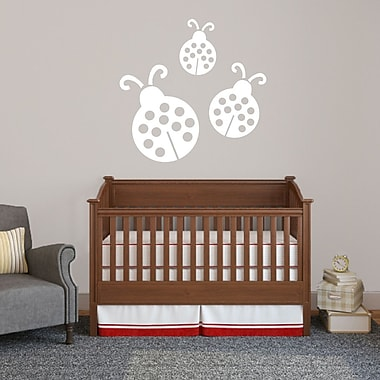 SweetumsWallDecals 3 Piece Ladybugs Wall Decal Set; White